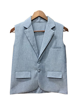 Fayon Grey Denim Kids Nehru Jacket