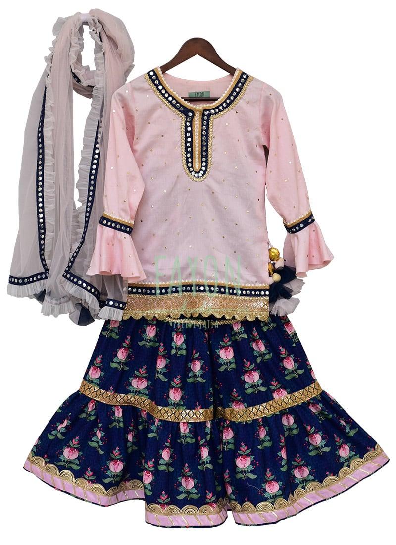 207066c08 Buy Fayon Kids Baby Pink N Blue Printed Sharara Suit, Blended ...