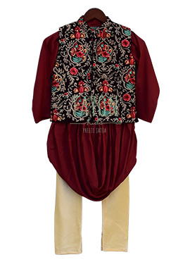 0ad6373c3 Fayon Kids Black N Maroon Embroidered Bandi Set
