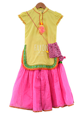 Fayon Lemon Yellow N Pink Kids Sharara Suit