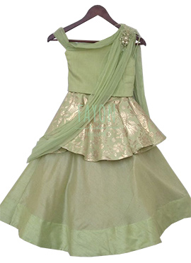 Fayon Light Green Brocade Kids A Line Lehenga