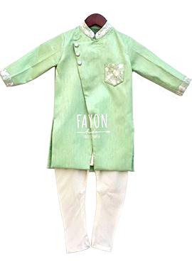 Fayon Light Green Cotton Silk Kids Kurta Pyjama