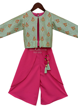 Fayon Light Green N Pink Kids Indowestern Set