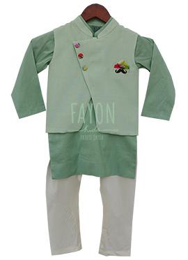 Fayon Light Green Plain Kids Bandi Set