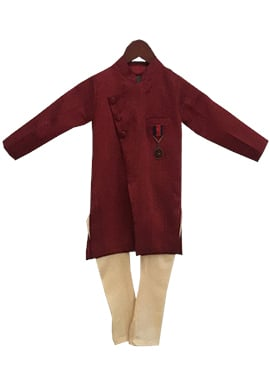 Fayon Maroon Cotton Kids Kurta Pyjama