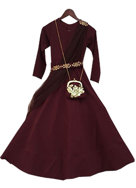 Fayon Maroon Georgette Dress