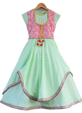 Fayon Mint Green Teens Jacket Style Anarkali Dress