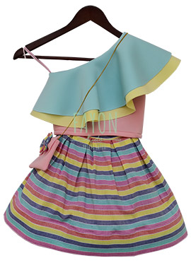 Fayon Multicolor Printed Kids Skirt Set