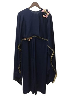 Fayon Navy Blue Satin Silk Jump Suit