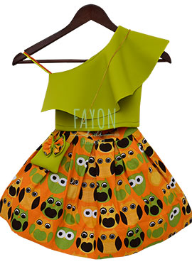 Fayon Orange N Green Printed Kids Skirt Set