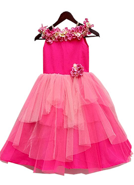 Fayon Pink Art Silk Net Gown