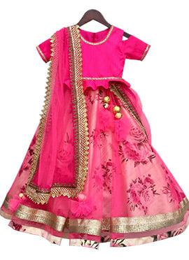 Fayon Pink Art Silk Net Lehenga