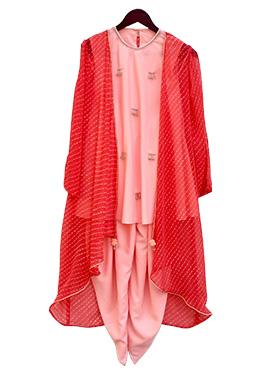 Fayon Pink Georgette Kids Dhoti Set