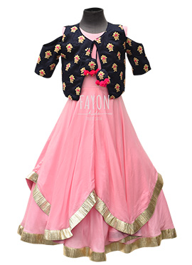 Fayon Pink Kids Jacket Style Anarkali Dress