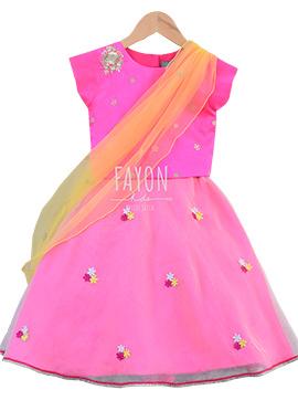 Fayon Pink Kids Lehenga