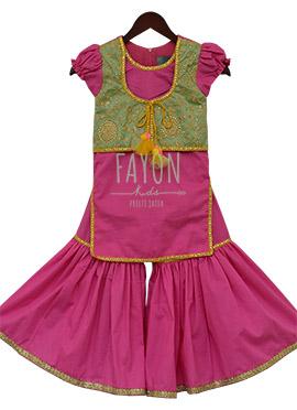 Fayon Pink N Green Kids Jacket Style Sharara Suit