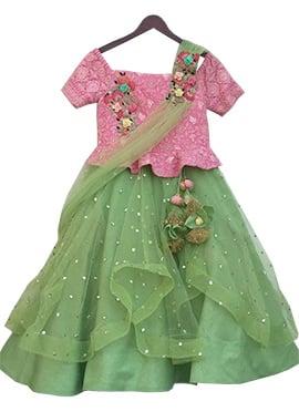 Fayon Pink N Green Net Lehenga