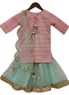 Fayon Pink N Mint Green Embroidered Sharara Suit