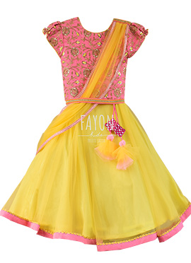 Fayon Pink N Yellow Teens Lehenga