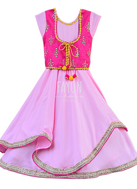 Fayon Pink Teens Jacket Style Anarkali Dress