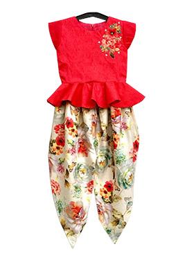 Fayon Red Art Silk Kids Salwar
