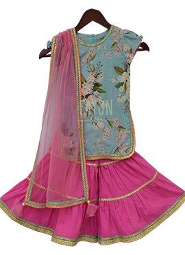 Fayon Sky Blue N Pink Printed Kids Sharara Suit