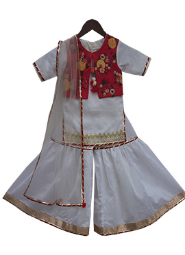 Fayon White N Red Sharara Suit