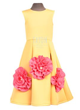 Fayon Yellow Kids Dress