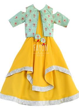 Fayon Yellow Kids Jacket Style Anarkali Dress