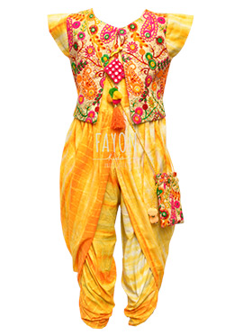 Fayon Yellow Kids Jacket Style Phulkari Dhoti Set