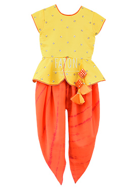 Fayon Yellow N Orange Kids Dhoti Set