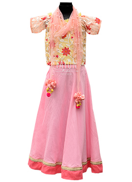 Fayon Yellow N Pink Kids Lehenga