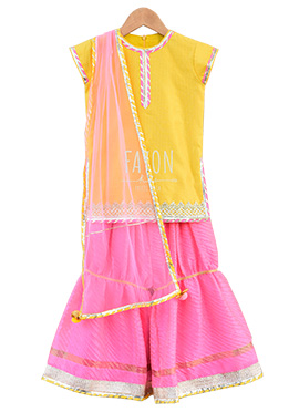 Fayon Yellow N Pink Kids Sharara Suit