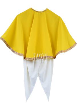 Fayon Yellow N White Kids Cape Style Dhoti Set
