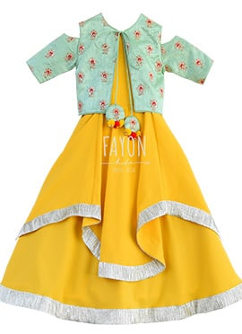 Fayon Yellow Teens Jacket Style Anarkali Dress
