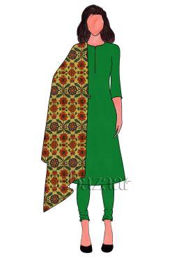 Fern Green Dupion Silk Churidar Suit