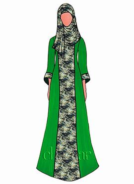 Fern Green Georgette Abaya