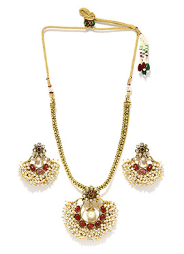 Fida Moti N Stone Enhanced Necklace Set