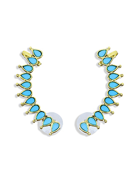 Fida Turquoise N Golden Colored Ear Cuffs