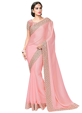 Flamingo Pink Cut Work Border Saree