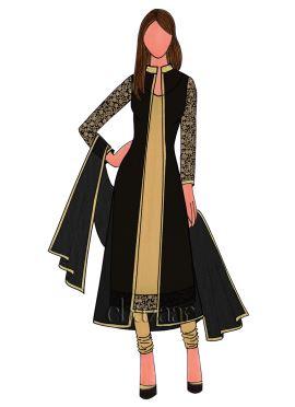 Flax Dupion Silk Churidar Suit With Jacket