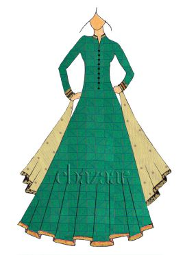 Floor Length Aqua Green Mogra Silk Anarkali Suit