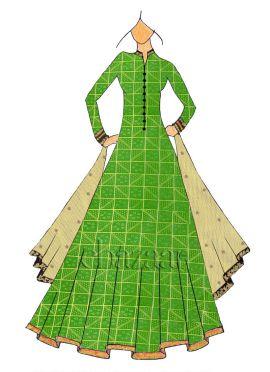 Floor Length Green Mogra Silk Anarkali Suit