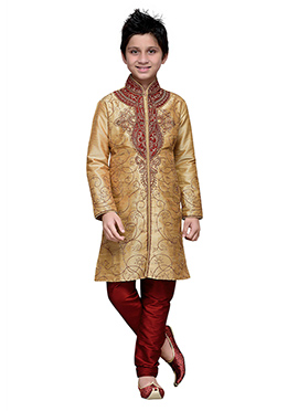 Foliage Designed Beige Art Silk Boys Kurta Pyjama