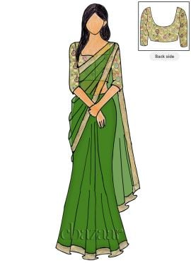 Foliage Green Georgette Saree N Brocade Blouse