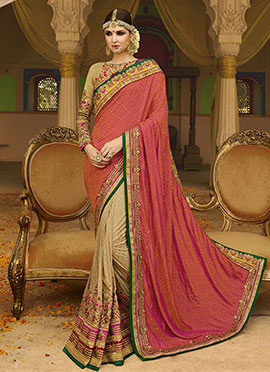 Foliage Pattern Pure Crepe Silk Half N Half Saree