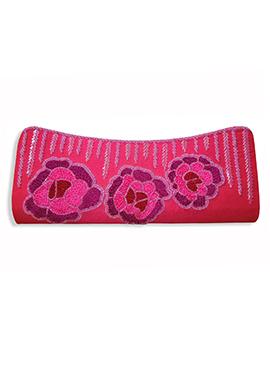 Fuchsia Pink Art Dupion Silk Clutch