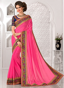 Fuchsia Pink Art Silk Border Saree