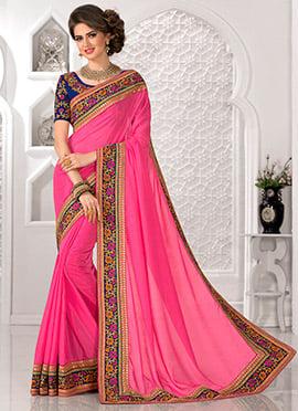 Fuchsia Pink Art Silk Border Saree