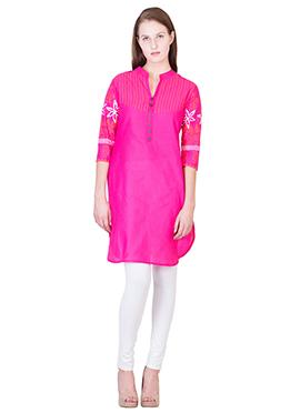 Fuchsia Pink Blended Cotton Kurti